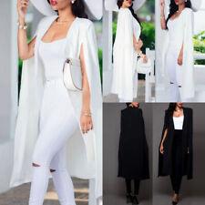 Women's Formal Cape Cardigan Blazer Suit Long Cloak Jacket Trench Coat Outwear