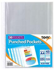 A4 verre clair plastique Portefeuilles PUISSANT poly Pochette perforée papier