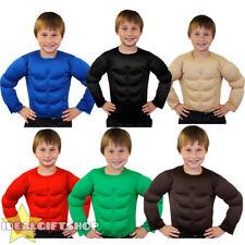 CHILDS FAKE MUSCLE CHEST PADDED SHIRT TOP KIDS FANCY DRESS SUPERHERO BODYBUILDER