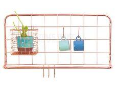 COPPER / GOLD Grid Kitchen organiser wall hook hanging rail +Basket herb planter