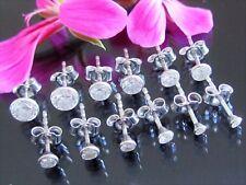 1 Paar Ohrstecker 925 Sterling Silber Zirkonia Unisex Ohrringe 1,8mm bis 5,5mm