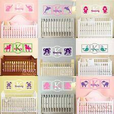 Custom Name Wall Decal Sticker Monogram Vinyl Animals Nautical Baby Girl Nursery