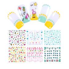 Nail Water Decals Flamingo Pineapple Mermaid Nail Art Transfer Sticker Tips DIY
