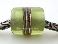 MOJITO GREEN APPLE LAVENDER * FINE SILVER EUROPEAN CHARM lampwork glass bead