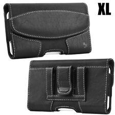 for XL SAMSUNG Phones - BLACK Suede Pouch Holder Belt Clip Holster Cas