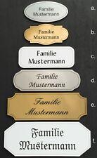 Türschild Namensschild Briefkastenschild mit Gravur selbstklebend