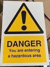 Warning Sign - Danger Entering hazardous area - 300 x 200mm Safety Signs