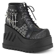 "Demonia Mega 4.75"" Platform Black Grey Bat Skelly Cross Charm Boots Goth 6-11"