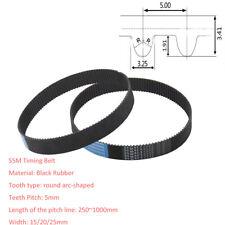 S5M(250~1000)/Pitch 5mm Black Rubber Gear Timing Belt Transmission Drive Belts