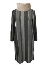 AMAVISSE UK - (RRP £30) Women Fashion Long Textured Jumper Dress Faux Fur Collar