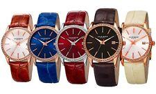 Women's Akribos XXIV AK883 Date Crystal Bezel Leather Strap Watch