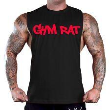 Men's Graffiti Gym Rat Black T-Shirt Tank Top Workout Fitness Muscle Beast V123