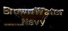 TWO (2) BROWN WATER NAVY HAT PIN US NAVY VIETNAM GUN PATROL BOAT PBR PCF ASPB