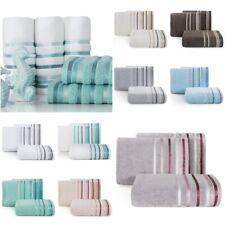 SET 3x Duschtucher Badetuch Handtuch Baumwolle Bordüre Dekorativ Streifen