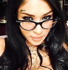 Retro Cat Eye Rockabilly Thin Frame Demi Women Vampy Punk Glasses Clear Frames S