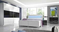 Hochglanz Schlafzimmer Set RivaLed Boxspringbett mit LED, Schrank, 2 Nachttische