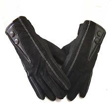 Herren Lederhandschuhe Handschuhe WIldleder Winter Herrenhandschuhe Warm Schwarz