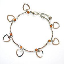 CAVIGLIERA donna argento cristalli ciondoli cuore strass ambra san valentino 5L