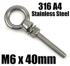 M6 x 40mm A4 316 Marine Grade Stainless Steel Lifting Eye Bolt Longshank Nut
