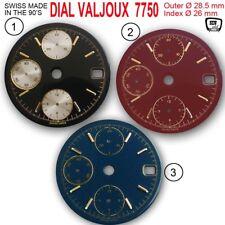 DIAL FIT MOVEMENT ETA VALJOUX 7750, DATE ONLY Ø 28.5 mm, BLACK, D-BLUE, DARKRED