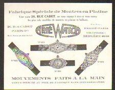 """PARIS (IX°) FABRIQUE de MONTRES en PLATINE / MONTRES DE LUXE """"E. ARIE WATCH"""""""