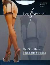 Leg Avenue Fashion 100% Nylon Sheer Back Seam White Stockings Plus Size 1X-3X