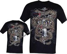 Nuevo Dragón Chino brillan en la oscuridad gótica Espada Skull Tattoo Camiseta M - 3xl