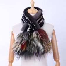 Rex Rabbit Fur Women's Fashion Fur Scarf Scarves Silver Fox Fur Knitted Wraps