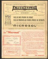 """PARIS (X° Arrt) USINE de PEINTURE & VERNIS Microsol """"A. FREITAG & Cie"""" en 1909"""