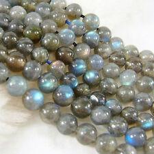 Natural 6/8/10/12mm Labradorite Round Gemstone Loose Bead 15''