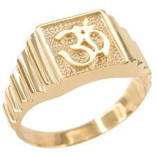 Solid Gold Om Aum Hindu Hum Brahman Yoga Yogi Men's Ring