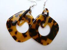 Fake Turtle Shell Square Shape Pair Dangling Earrings w/ Hooks # 33289-13