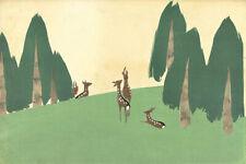 Japanese Print Deer in Landscape by Yamada Naosaburo