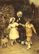 SMOOTH FOX TERRIER VICTORIAN CHILDREN DOG ART PRINT - Arthur J Elsley (Small)