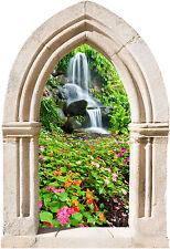 Sticker mural trompe l'oeil Arche déco cascade fleurs réf 879