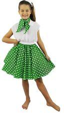 Niñas Verde 1950's Circle Falda + Lazo del cuello blanco a lunares vestido de danza Hop