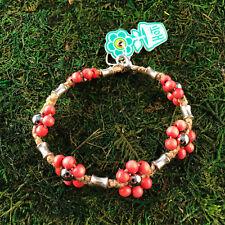 HOTI Hemp Handmade Natural Coral Pink Flower Wood Bead Anklet Ankle Bracelet NWT