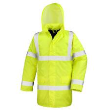 Warm High Hi Viz Waterproof Windproof Motorway Coat Jacket with Quilted Lining