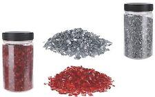 Glas-Granulat Glas-Sand 400g Deko Basteln 2-4 mm Silber / Rot Weihnacht Dose
