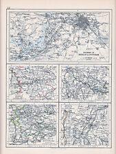 1894 VICTORIAN MAP ~ ENVIRONS BERLIN POTSDAM MUNICH DRESDEN