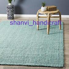Handmade Braided Indian Rectangle Bohemian Jute Area Floor Rug Rags Carpet Mat