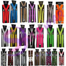 Unisex Girls Boys Men Ladies Adjustable Plain Printed Braces Fancy Suspenders