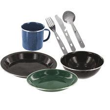 Enamel Camping Outdoor Eating Set Bowl Soup Bowl Plate Mug & KFS