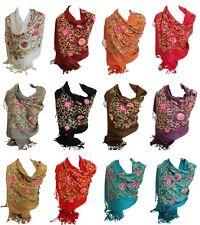Premium Lush Embroidered Pashmina Feel Scarves Shawl Stole Wrap Head Scarf