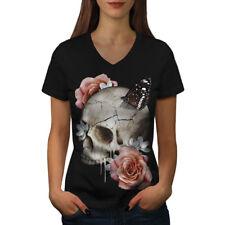 Fleurs Crâne Rose Femmes T-Shirt col V nouveau | wellcoda