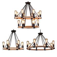 Industrial Pendant light Iron Vintage Chandelier Metal Fittings Hemp Rope Light