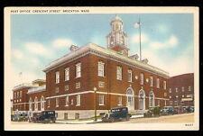 1930 Massachusetts Brockton Post Office Automobiles Vintage Photo Postcard
