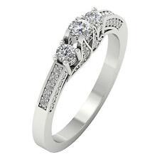 I1 H 3 Stone Anniversary Ring Band 1.05Ct Genuine Diamond White Gold Appraisal