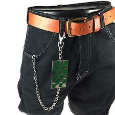 Nuevo Para Hombre Fashion Punk Gótico Verde Checker Diseño Colgante Jean Llavero