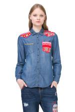 Desigual Long Sleeved Blue Denim Red Patch Shirt XS-XXL UK 8-18 RRP ?84